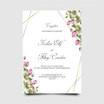 水彩風のピンクのバラのwithと結婚式の招待カードのテンプレート