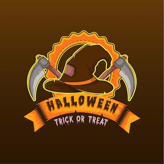 Withcher hat logo and sickle illustration logo halloween