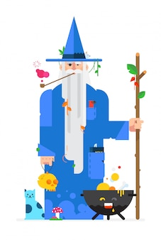 Wizard in a cartoon flat style. vector.