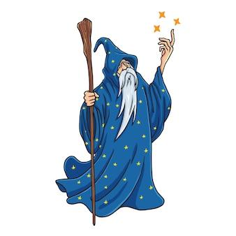 Волшебник мультфильм с синими и звездами одежду дизайн персонажей талисман векторные иллюстрации