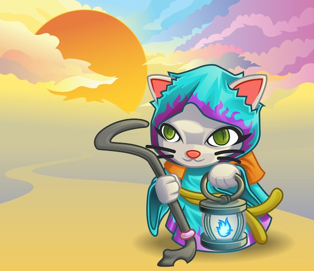 Wizard cat and sky background.