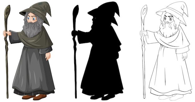 Wizard in color and outline and silhouette cartoon character isolated