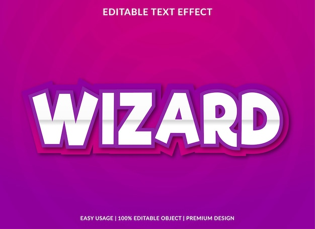 Wizard editable text effect template premium style
