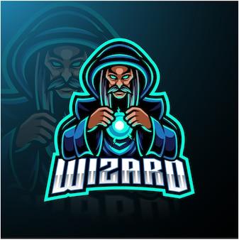 Wizard esport талисман дизайн логотипа