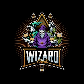 Wizard and friends logo template