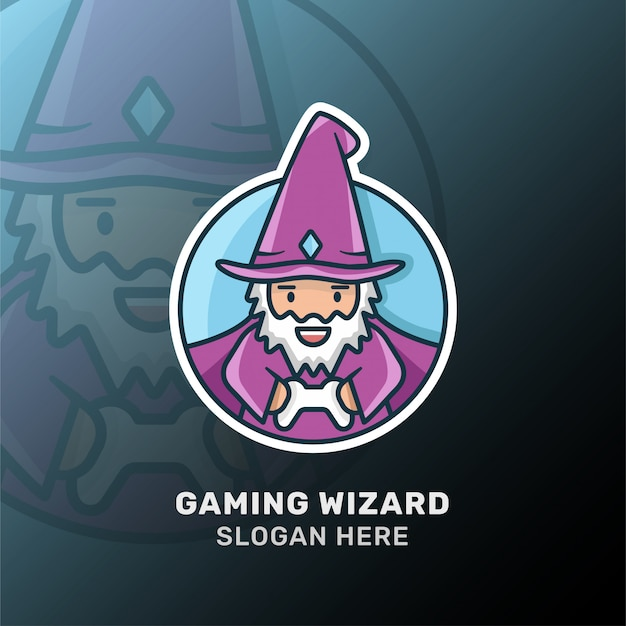 Wizard gaming logotype. isolated vector
