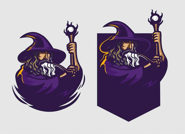 Wizard holding staff esport gaming mascot logo template