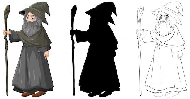 Волшебник в цвете и набросках и силуэт мультипликационного персонажа, изолированные на белом фоне