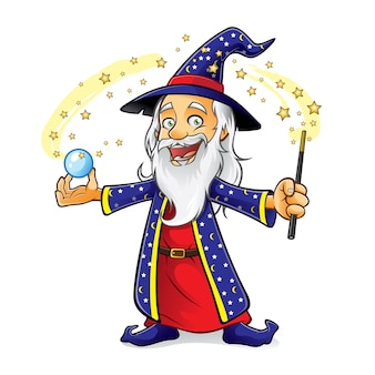 Wizard is holding a crystal ball as he waved his magic wand and smiling happily
