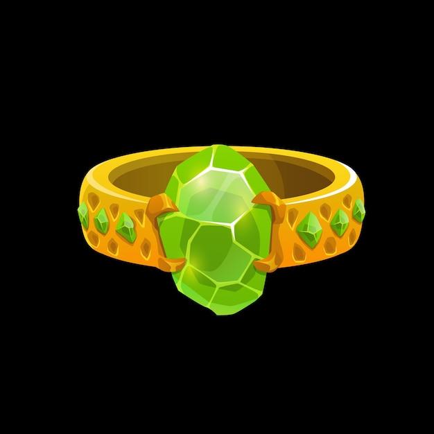 Волшебное кольцо волшебника с зелеными камнями