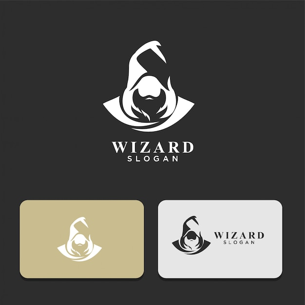 Wizard man with hood silhouette logo design