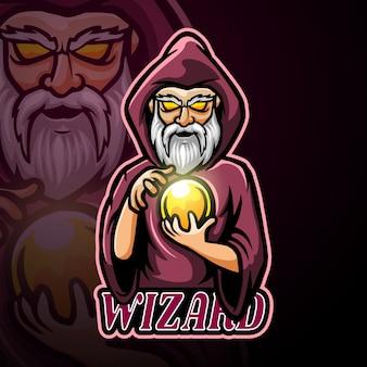 Wizard mascot esport logo design