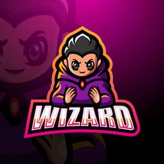 Wizard mascot esport logo illustration