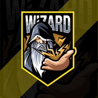 ウィザードのマスコットロゴeスポーツデザインテンプレート