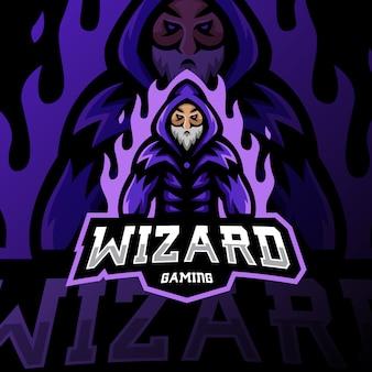 Wizard mascot logo gaming esport illustration