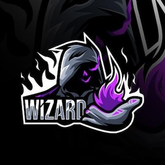 ウィザードマスコットのロゴのテンプレートデザイン