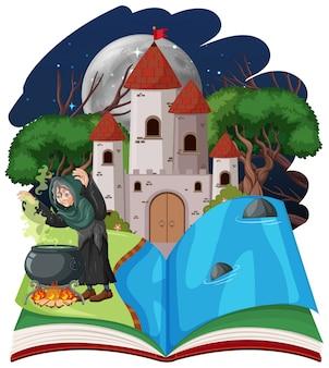 白い背景の上のポップアップ漫画本スタイルのウィザードまたは魔女と城の塔