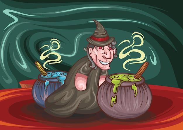 Волшебник или ведьма котел с синим и красным кипением на красном фоне реалистичная иллюстрация