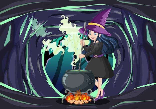 暗い洞窟の背景に魔法の鍋を持つウィザードまたは魔女