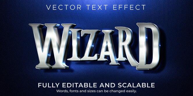 ウィザードのテキスト効果、編集可能なメタリックで光沢のあるテキストスタイル