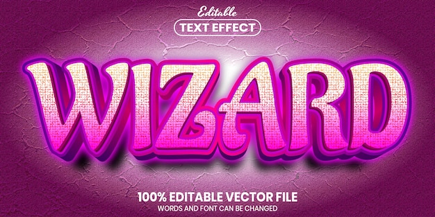 Wizard text, font style editable text effect