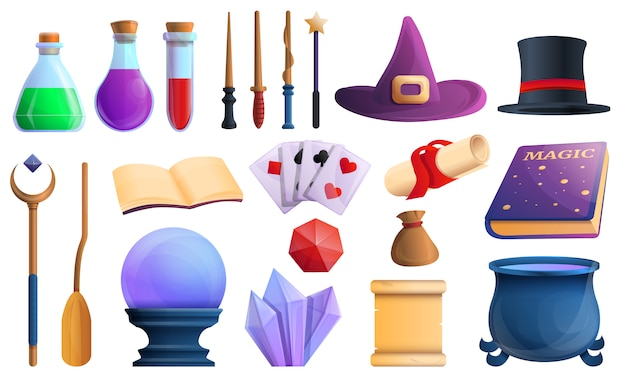 Wizard tools icons set, cartoon style