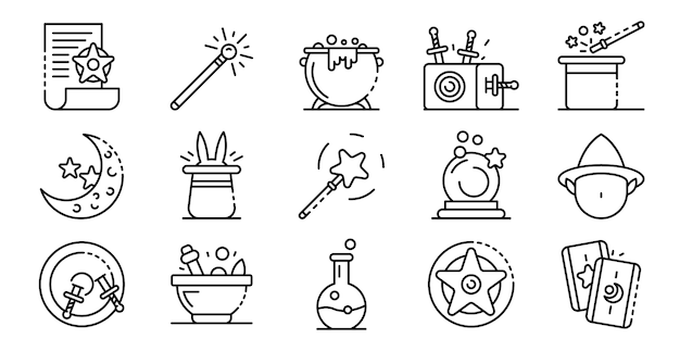 Wizard tools icons set, outline style