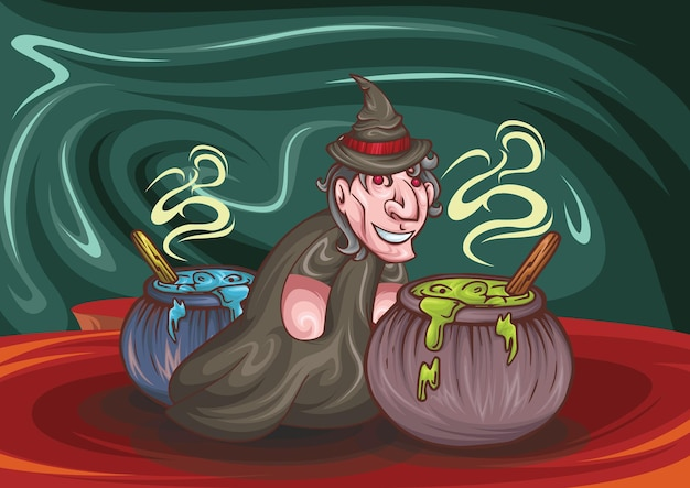 Wizard or witch cauldron with blue and red boiling on red background realistic illustration