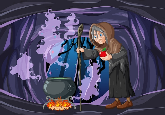 Wizard or witch with magic pot and red apple on dark cave scene