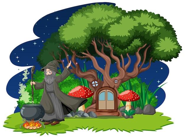 Mago con pentola magica nera e stile cartone animato casa sull'albero sulla foresta oscura