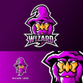 Шаблон логотипа талисман для спортивного или спортивного талисмана wizard
