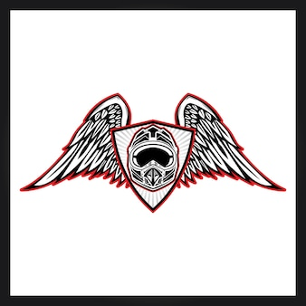 Шлем и wng для логотипа motocross