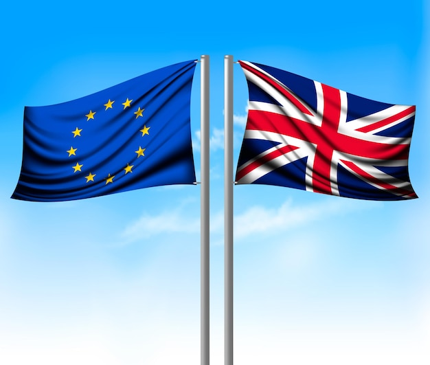 Wo separate flags - eu and uk. brexit concept. vector.