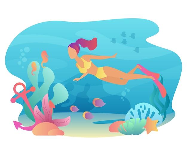 シュノーケリングは海の動植物と一緒に水中を泳ぎます。夏のスポーツレジャー。女性ダイビング