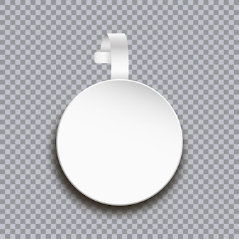 Макет воблера на прозрачном фоне пустая белая круглая бумажная наклейка по цене