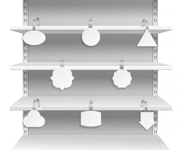Воблер полок. рекламная реклама, информирующая о скидках на бирках на полке супермаркета. бумажные воблеры пустые этикетки векторный набор