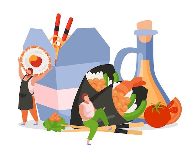 Плоская фоновая композиция с вок-боксом с человеческими персонажами, палочками для еды и рулетами с соусом и лапшой