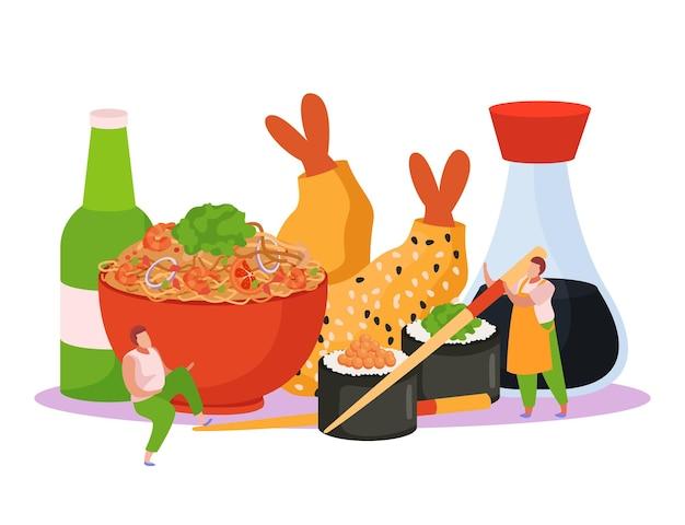 Composizione di sfondo piatto scatola wok con vista di voci di menu combinato fastfood tagliatelle sushi e birra illustrazione
