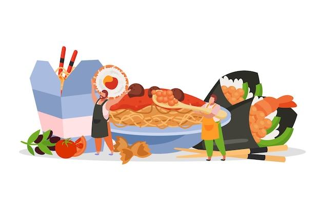 段ボールのテイクアウトボックスが付いている皿の上の日本の食事のファーストフードの麺が付いているwok箱の平らな構成