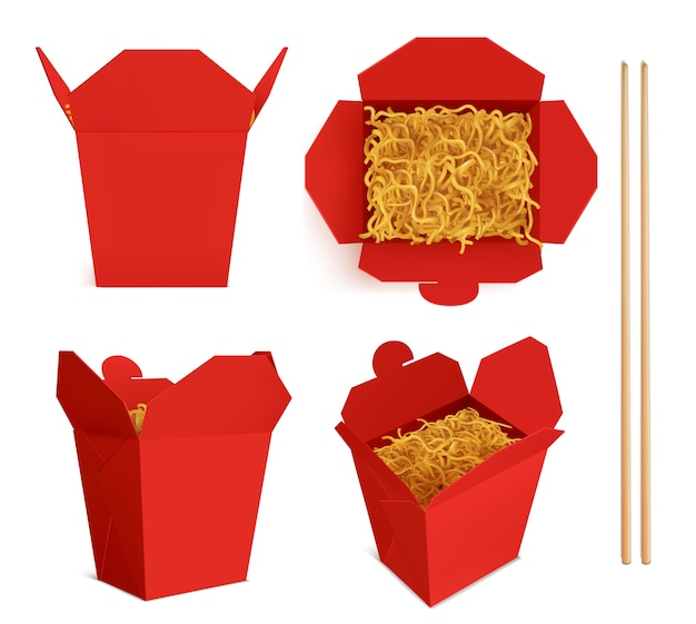 Scatola wok con noodles e bastoncini