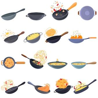 中華鍋のフライパンのアイコンを設定します。ウェブデザインの中華鍋フライパンアイコンの漫画セット