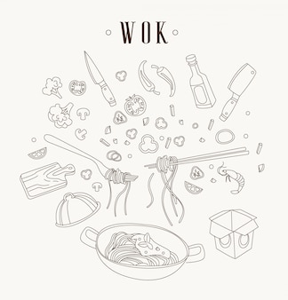 Wok illustration. asian frying pan.