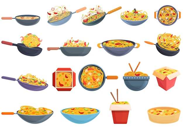 Wok menu icons set. cartoon set of wok menu icons
