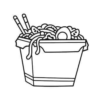 Коробка с лапшой вок наброски иллюстрации шаржа