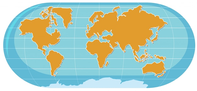A wold map on white background