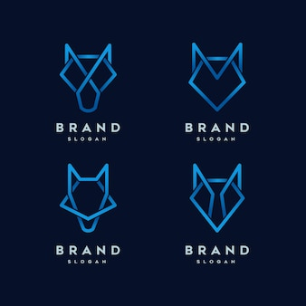 Wolf abstract line logo template