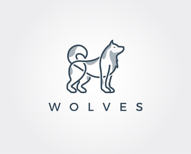 늑대 추상 템플릿 로고 디자인
