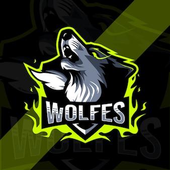 狼怒っているマスコットのロゴデザイン