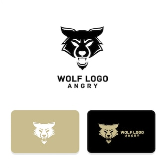 Wolf angry silhouette logo design