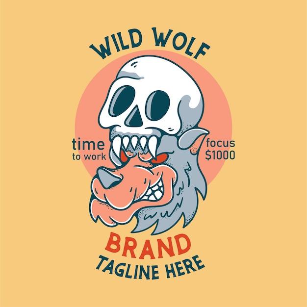 Волк сердится с черепом иллюстрация персонажа винтажного дизайна для футболок